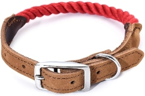 Mile High Life Premium Cotton Rope Dog Collar Stainless Steel Pin Buckle Ring Dog Collar Genui