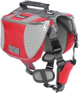 Pawaboo Dog Backpack, Pet Adjustable Saddle Bag Harness Carrier For Traveling Hiking Camping, Suita