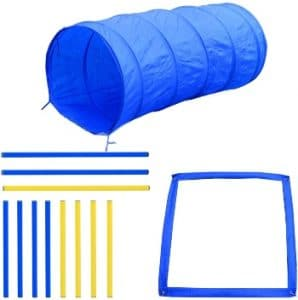 Pawhut 4pc Obstacle Dog Agility Training Course Kit Backyard Competitive Equipment Blue Yellow