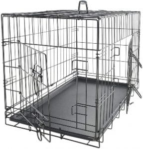 Paws & Pals Dog Crate Double Door Folding Metal Wire Pet Cage W Divider & Tray For Training Pet Su