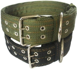 Pesp Pet Dog Metal Buckle 2 Rows Army Nylon Fabric Belt Strap Adjustable Collar