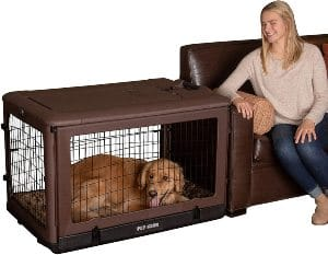 """Pet Gear """"the Other Door"""" 4 Door Steel Crate With Plush Bed + Travel Bag For Cats Dogs"""