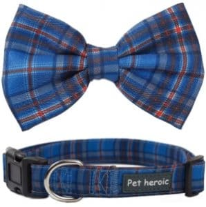 Pet Heroic Pet Dog Cat Collar With Grid Bow Tie, Adjustable Plaid Pet Dogs Cats Comfortable Durable
