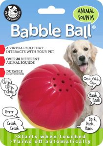 Pet Qwerks Animal Sounds Babble Ball Interactive Dog Toy, Makes Barnyard & Jungle Sounds When Touch