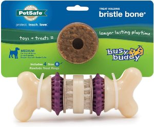 Petsafe Busy Buddy Bristle Bone Chew Toy For Dogs – Strong Chewers – Helps Clean Teeth – Extra Small