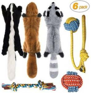 Peteast 3 Squeaky Toys And 3 Rope Dog Toys, No Stuffing Squeaky Plush Fox Raccoon Squirrel, Puppy Ch