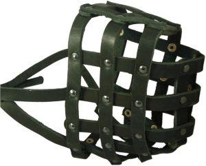 Real Leather Dog Basket Muzzle #115 Black (circumference 18 , Snout Length 4.7 ) Mastiff, Great Dane