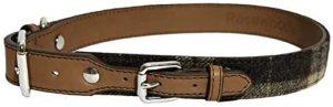 Rosewood Luxury Leather Dog Collar, Tartan Tweed Check