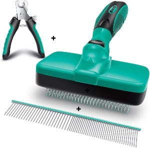 Ruff 'n Ruffus Self Cleaning Slicker Brush + 2 Free Bonuses Steel Comb + Pet Nail Clippers Groomi
