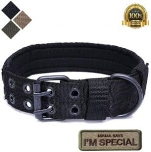 S.lux Tactical Dog Collars, Nylon Military Adjustable Dog Collar With Metal D Ring Buckle For Dog Training