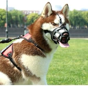 Shunai Pet Dog Muzzle, Soft Basket Rubber Muzzle Dog Ergonomics, Small Medium Large Dog Muzzle To No
