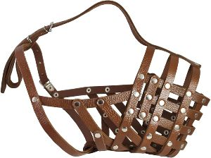 Secure Leather Mesh Basket Dog Muzzle #16 Brown Great Dane, Saint Bernard, Mastiff (circumference