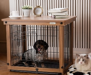 Simply Plus Wood & Wire Dog Crate With Slide Tray And Detachable Top Cover Indoor Pet Crate Side Table
