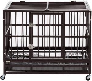 Sliverylake Dog Cage Crate Kennel Heavy Duty Double Door Pet Cage W Metal Tray Wheels Exercise Pla