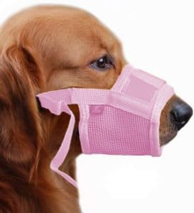 Tfeng Dog Muzzle Soft Prevents Food Scavenging Avoid Harmful Self Licking No Barking Black Pink Yell
