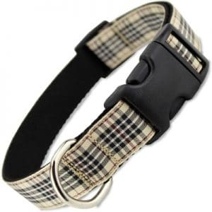 The Artful Canine London Furberry Plaid Dog Collar, Large Dogs 35 60 Lbs (collar 1 Wide, 12 20