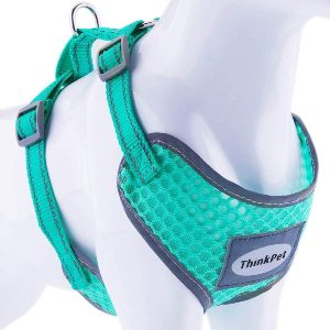 Thinkpet Reflective Breathable Soft Air Mesh No Pull Puppy Choke Free Over Head Vest Ventilation Har