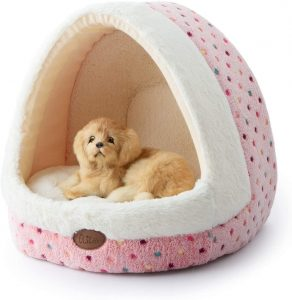 Tofern Colorful Dots Patterns Striped Cute Pet Fleece Bed Puppy Small Medium Dog Cat Sleeping Igloo