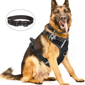 Winsee Dog Harness No Pull, Pet Harnesses With Dog Collar, Adjustable Reflective Oxford Outdoor Vest