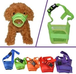 Yamay Dog Muzzle Muzzles For Barking Biting Chewing Licking Nylon Mesh Comfortable Adjustable Velcro