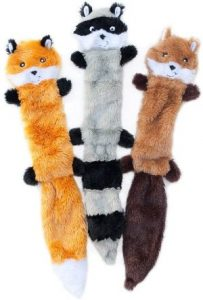 Zippypaws Skinny Peltz No Stuffing Squeaky Plush Dog Toy, Fox, Raccoon, And Squirrel Large