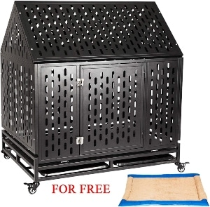 Petgroomingtable Heavy Duty Dog Crate Cage Strong Metal Kennel For Large Dogs, Easy To Assemble With Four Wheels (1)