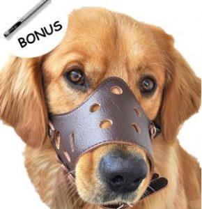 Photoiscool Dog Muzzle Leather, Adjustable Anti Biting Dog Leather Muzzle, Breathable Safety Pet Pup