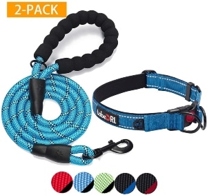 Tobedri Comfortable Dog Collar Padded With Soft Neoprene Reflective And Adjustable Dog Collars For Large Medium Small Dogs (2 Pack)