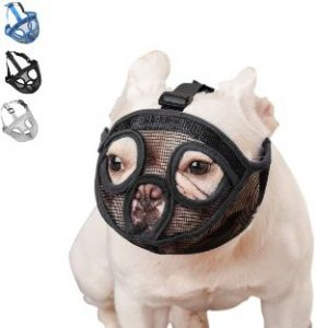 Wintchuk Short Snout Dog Muzzle Mesh Mask Stop Dog For Biting Barking Chewing, Adjustable