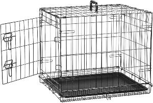 Amazonbasics Single Door & Double Door Folding Metal Dog Or Pet Crate Kennel With Tray