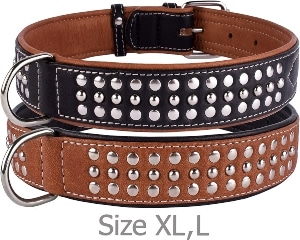 Collardirect Studded Dog Collar Leather Pet Collars For Dogs Small Medium Large Puppy Soft Padded Br