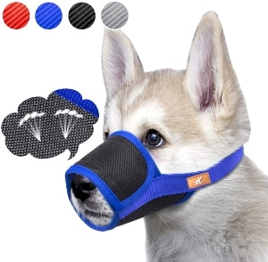 Dog Muzzle Breathable Mesh Mask Stop Biting, Barking And Chewing, Cover With Hook & Loop For Dogs, A