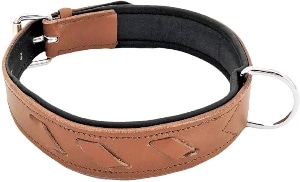 Fdc Genuine Leather Soft Padded Dog Collar For Medium And Large Breeds