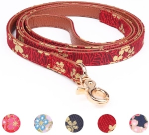 Leepets Dog Collar For Small Dog Puppy Cat With Adorable Bowtie Bandana Leash Durable Pu Leather Pad