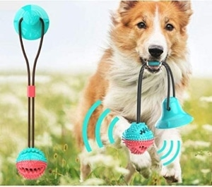 Strong Upgraded Suction Cup Dog Toy Chew Toy For Aggressive Chewers Rope Tug Toy With Bell For Bo