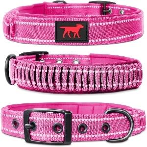 Tuff Pupper Heavy Duty Dog Collar With Handle Ballistic Nylon Heavy Duty Collar Padded Reflectiv
