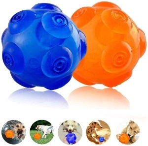 Unicool Squeaky Toys Dog Interactive Ball Durable Soft Non Toxic Rubber Squeeze Bouncey Ball For Agg