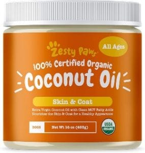 Zesty Paws Coconut Oil For Dogs Certified Organic & Extra Virgin Superfood Supplement Anti Itch