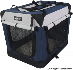 Elitefield 4 Door Collapsible Soft Sided Dog Crate With Curtains