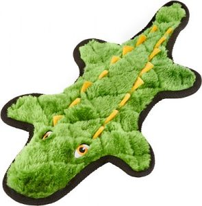 Frisco Flat Plush Squeaking Alligator Dog Toy