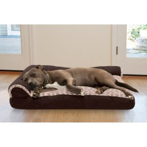 Furhaventwo Tone Deluxe Chaise Memory Top Dog Bed