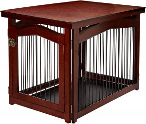 Merry Products 2 In 1 Configurable Single Door Furniture Style Dog Crate & Gate