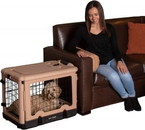 Pet Gear The Other Door Double Door Collapsible Wire Dog Crate & Plush Pad