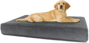 eLuxury Stain Repellent Memory Foam Pillow Dog Bed w/Removable Cover