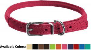 Dogline Round Soft Leather Dog Collar
