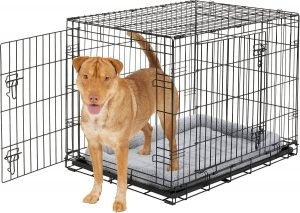 Frisco Heavy Duty Fold & Carry Double Door Collapsible Wire Dog Crate & Mat Kit