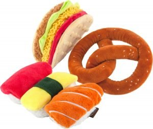 L.a.y. Pet Lifestyle And You American Classic Food Set Squeaky Plush Dog Toy
