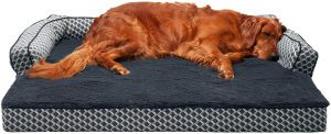 Furhaven Comfy Couch Orthopedic Bolster Dog Bed