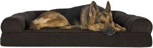 Furhaven Faux Fleece Memory Top Bolster Dog Bed