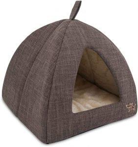Best Pet Supplies Linen Tent Covered Cat & Dog Bed